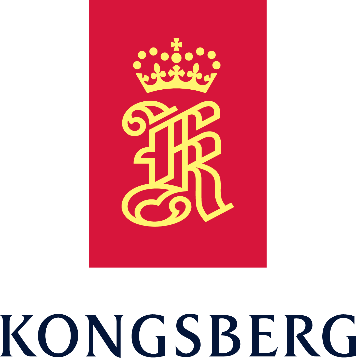 Kongsberg logo - a fancy K with a crown above it all inside a red rectangle and KONGSBERG underneath the rectangle