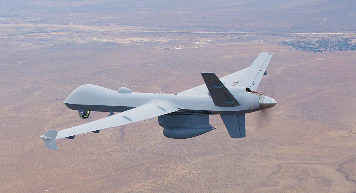 An RQ-1 Predator flies with a Raytheon Multi-Spectral Targeting System and SeaVue sensors. Photo: General Atomics Aeronautical Systems.