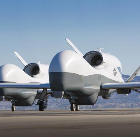 Northrop Grumman MQ-4C Tritons, seen with the MFAS payload. Photo: Northrop Grumman