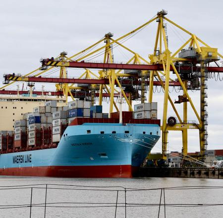 Sea Machines plans to test its new SM400 situational awareness system on a new Maersk container ship, such as this one. Photo: Maersk