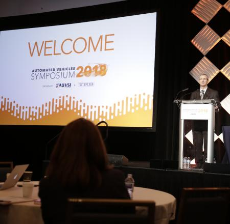 AUVSI President and CEO Brian Wynne welcomes the AVS audience. Photo: Scott Campbell