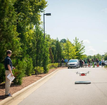 Matternet's UAS takes off behind WakeMed's Raleigh Medical Office. Photo: North Carolina Department of Transportation