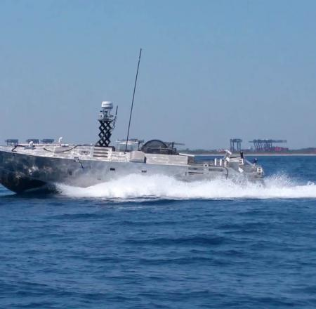 Textron Systems' Common Unmanned Surface Vehicle undergoing testing earlier this year. Photo: Textron Systems