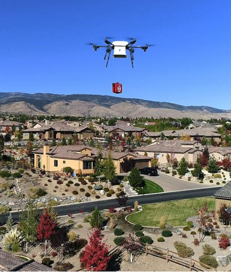 A Flirtey drone makes a mock package delivery in Reno, Nevada. Photo: Flirtey