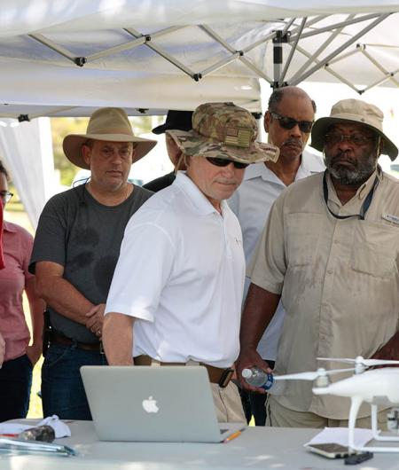 Tom Oatmeyer, Chief Pilot for the Airborne International Response Team (AIRT) trains remote pilots for UAS disaster operations during Disaster Camp 2018 in Miami. Photo: Javier Galeano