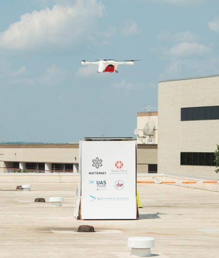 Matternet's UAS lands on the roof of WakeMed Regional Hospital. Photo: North Carolina Department of Transportation