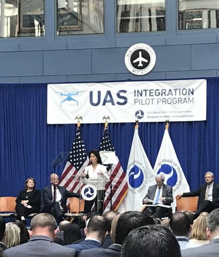 Transportation Secretary Chao announces the selectees of the UAS pilot program. Photo: AUVSI