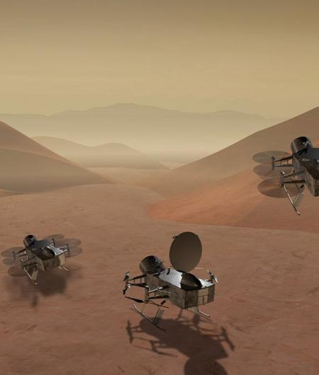 An artist's rendition of a proposed drone mission to Saturn's moon Titan. Image: NASA