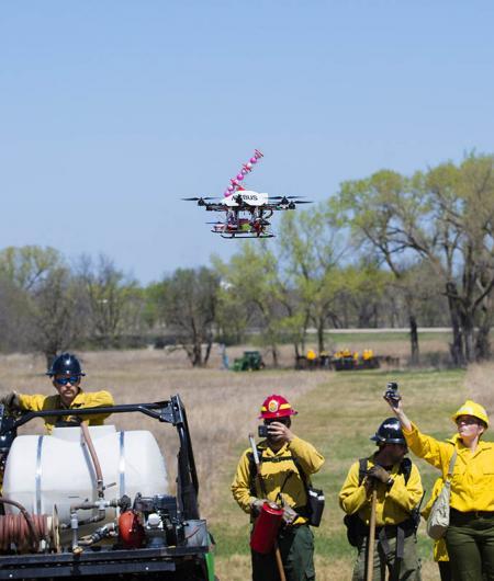 A University of Nebraska prototype drone drops fire-starting balls. Photo: University of Nebraska