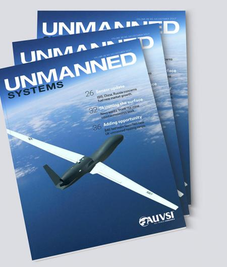 The front cover of the October issue of AUVSI's Unmanned Systems magazine.