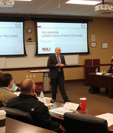 Patrick Mason addresses a PEO Aviation leadership class. Photo: Tonia Beavers