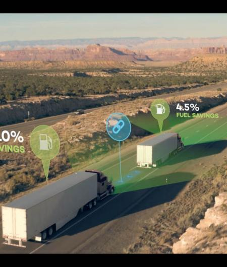 A measurement of how platooning can save fuel and money. Image: Peloton Technology