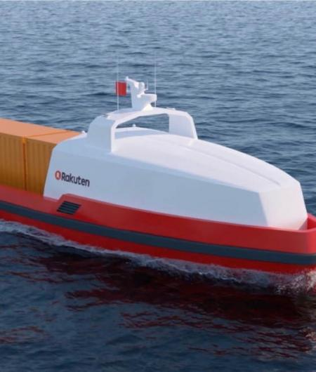 Maritime Robotics and the Rakuten Institute of Technology are studying concepts for unmanned cargo ships, such as the one shown here. Photo: Maritime Robotics and the Rakuten Institute of Technology