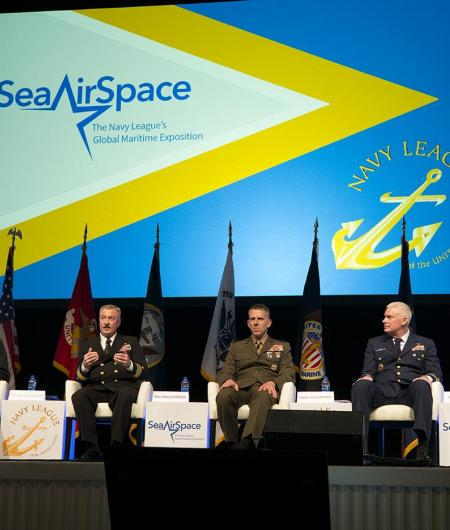 Speakers at a Sea-Air-Space panel on autonomous systems. Photo: AUVSI