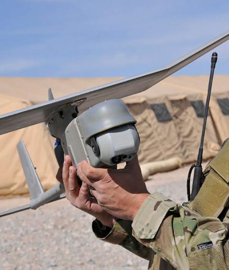 An AeroVironment Raven equipped with the Mantis i23 sensor payload. Photo: AeroVironment