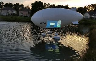 Dronicar's unmanned airship lands on water.