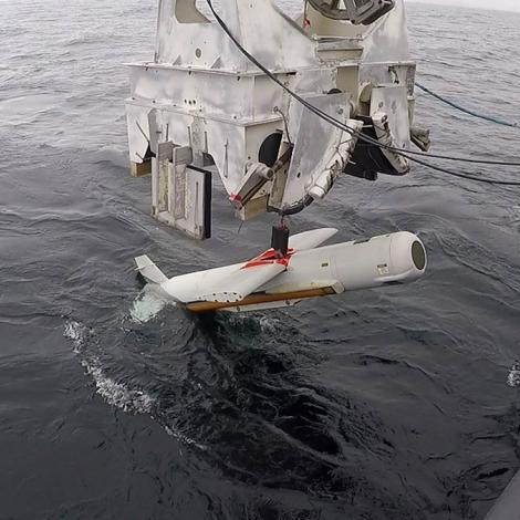 The AQS-20C mine-hunting sonar, shown here being lowered into the Gulf of Mexico, is supported in the FY2020 budget request. Photo: U.S. Navy/Eddie Green