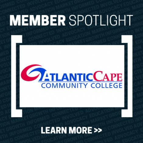 Member Spotlight Graphic with Atlantic Cape Community College logo