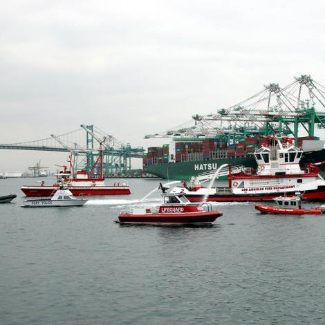 A flotilla of emergency response vessels performs a routine training mission in the Port of Los Angeles. Photo: Port of Los Angeles