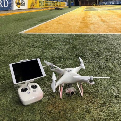 A Botlink-operated DJI drone at the FargoDome. Photo: Botlink