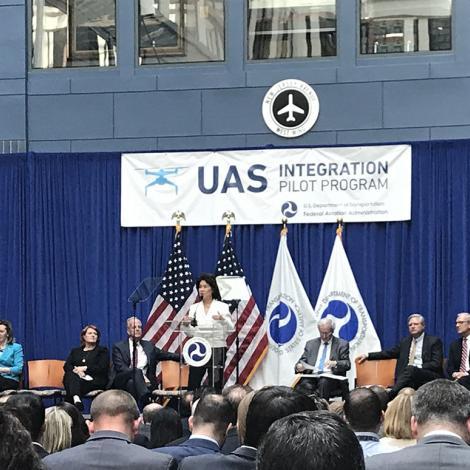 Transportation Secretary Chao announces the selectees of the UAS pilot program. Photo: AUVSI