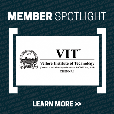 Member Spotlight box - dark blue with white letters that say Member Spotlight, Learn More with the Vellore Institute of Technology Chennai logo in the middle (VIT seal with the university's name in black letters to the right)