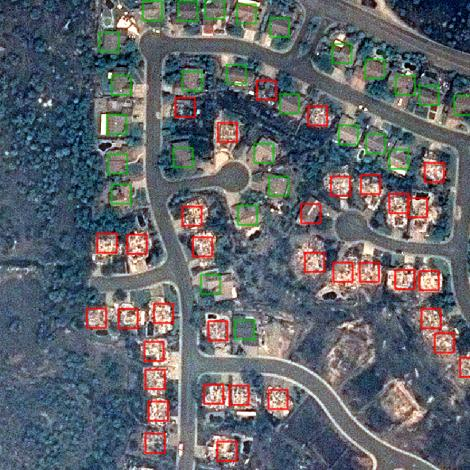 An aerial view of the Carr fire's destruction, which data showing which houses have been destroyed. Photo: Airbus Aerial